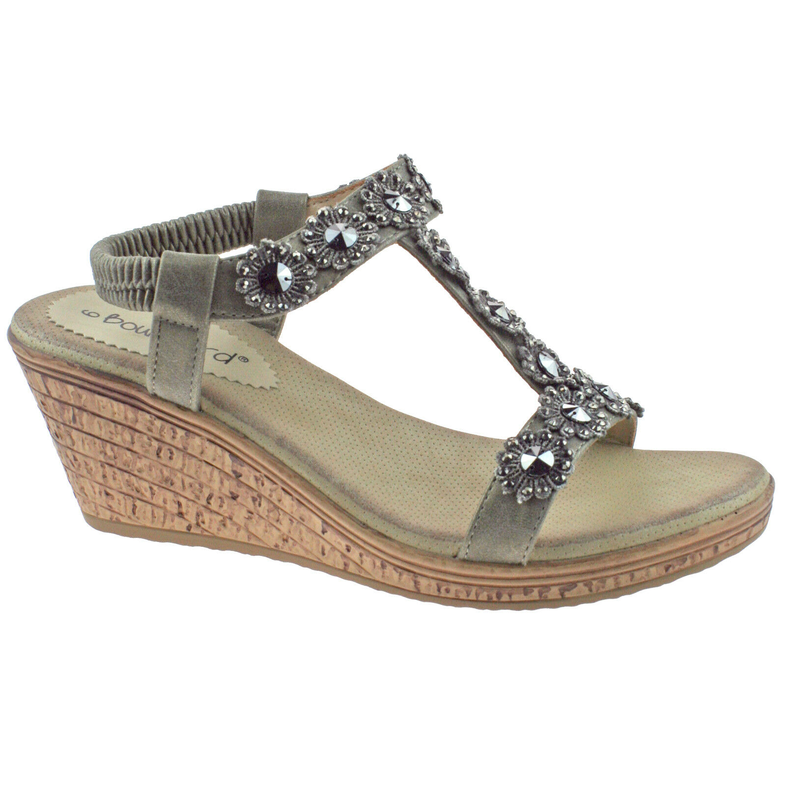 Ladies Summer Sandals Flower Diamante Elasticated Cushioned Holiday UK Sizes 4-8