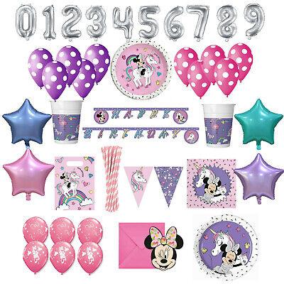 Minnie Mouse Einhorn Party Geburtstag Deko Set Minnie Maus 1 Kindergeburtstag