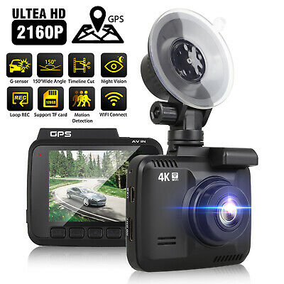 4K 2160P Car Dash Cam Built-In GPS, WiFi ,170 View Angle, G-Sensor, Parking Mode
