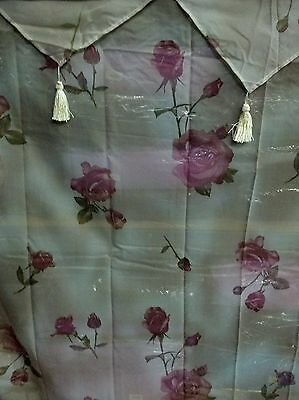 Rose Floral Shower Curtain w/ Vinyl liner and plastic hooks - Plastic Curtains