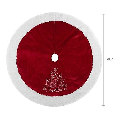 Red Holiday Time Velvet Tree Skirt Silver Merry Christmas and Plush Trim 48