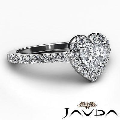 Halo U Cut Prong Set Heart Shape Diamond Engagement Ring GIA Certified F VS2 1Ct 2