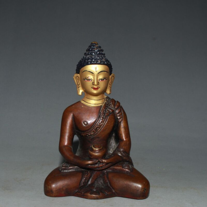 Chinese Red Copper Gilded Handmade Exquisite Buddha Statue 40413