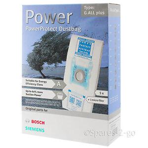 5 x BOSCH Genuine All Type G Bags Vacuum PowerProtect Cloth 577549 Bag + Filter