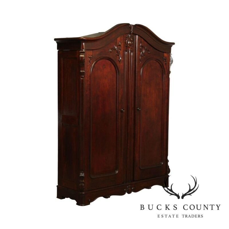 Antique American Victorian Walnut 2 Door Wardrobe Closet, Armoire