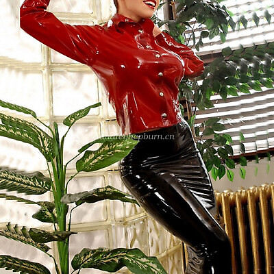 Womens Red Latex (100%Latex Rubber Women Sexy Red Shirt And Package Hip Skirt Suit Set XS-XXL)