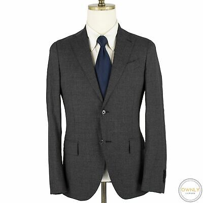 NWOT Lardini Grey Black Wool Micro Check Static Unstructured Flat Front Suit 36R