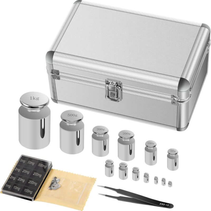 304 Stainless Steel Class F1 Calibration Scale Weight Kit Set 1 mg -1 kg 25pcs