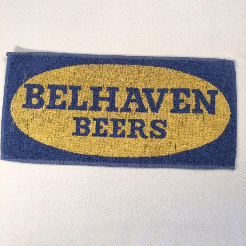"""Vintage Bar Towel Belhaven Beers 18""""x9"""" Breweriana Decor"""