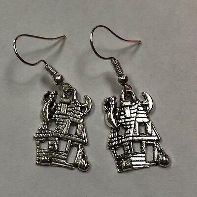 Haunted house halloween earrings FUN GIFT  charm earrings gift idea #63
