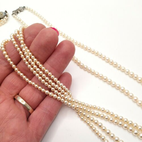 Classic Faux Pearl Bead Necklaces Two White Vintage Elegant Wedding Jewellery