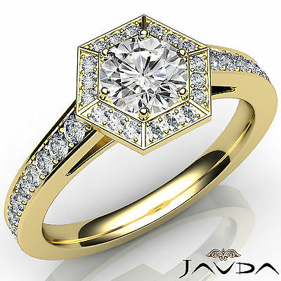 Hexagon Cut Halo Pave Set Round Diamond Engagement Ring GIA F Color VS2 1.21 Ct