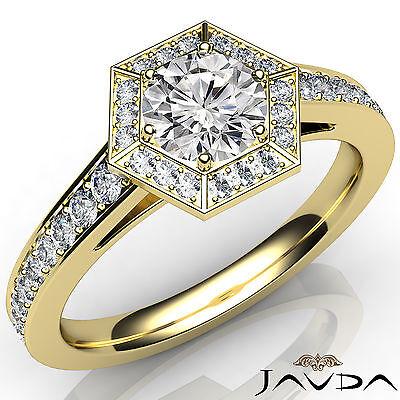 Round Diamond Hexagon Pave Set Engagement Ring GIA F VS2 18k Yellow Gold 1.21Ct