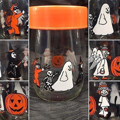 Vtg Halloween Candy Jar 1980s Carlton Glass Pumpkin Devil Ghost Witch Cat Bats