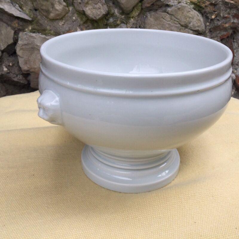 ANTIQUE French Pottery Soup Tureen Bowl White Lion's Head Pillivuyt Porcelain