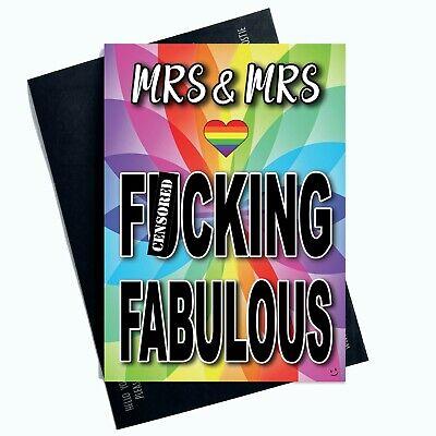 Divertido Mrs Y F Cking Fabulous Lesbianas Tarjeta de Boda Navidad PC962