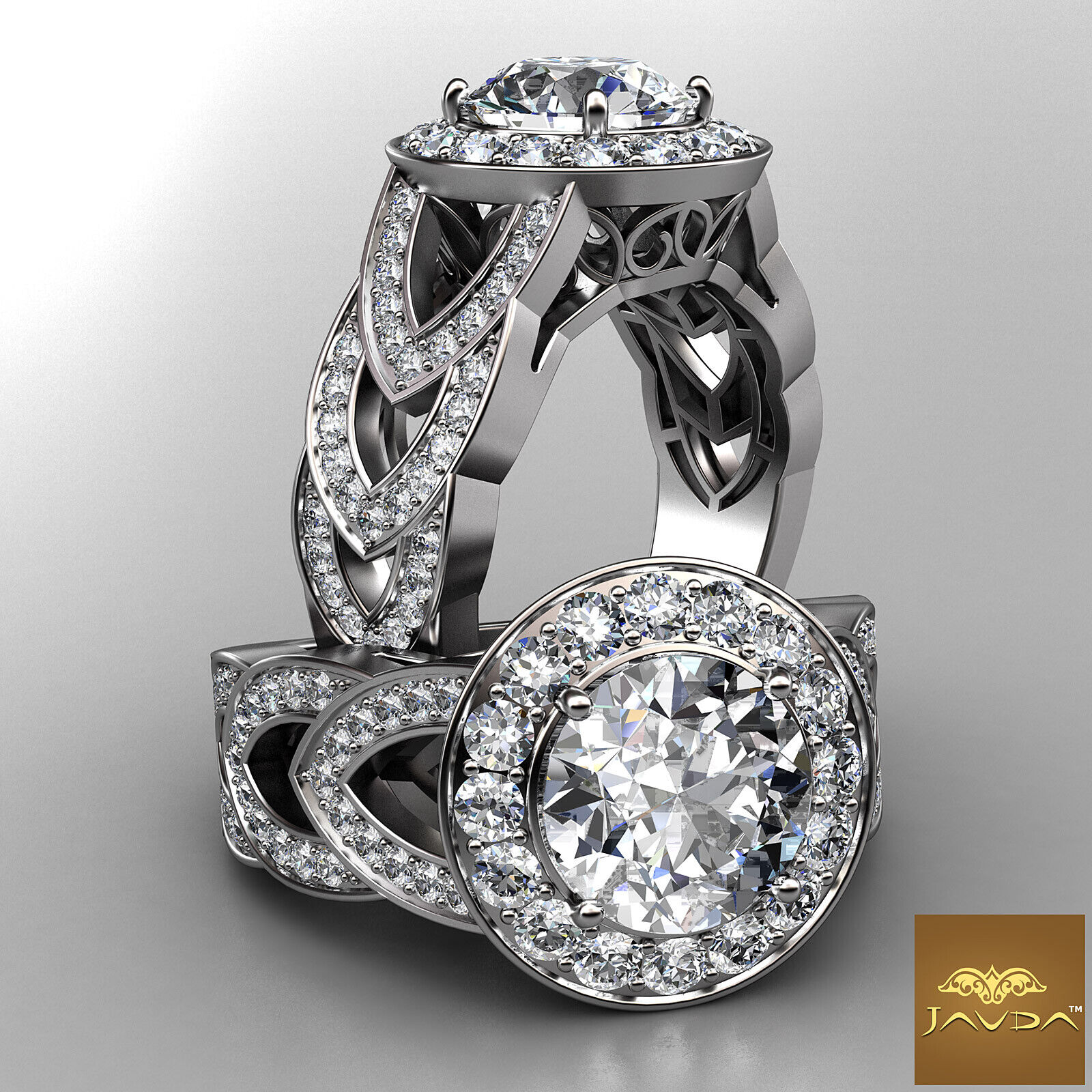 2.25ct Round Diamond Engagement Designer Halo Set Ring GIA F VVS2 14k White Gold