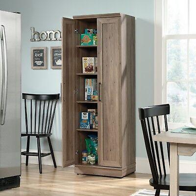 Rustic Oak Wood Double 2 Door Cabinet Storage Pantry Office Kitchen Bedroom (Oak Kitchen Pantry)