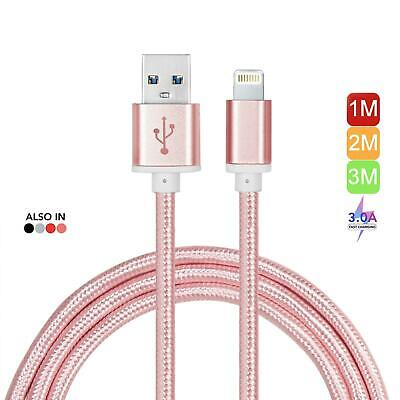 Apple Lightning USB Data Lead Fast Phone Charger Strong Braided Cable 1m,2m,3m