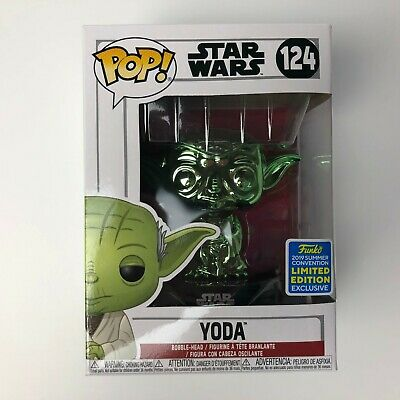 Funko POP Yoda #124 Green Chrome Star Wars FYE SDCC Summer Convention Exclusive