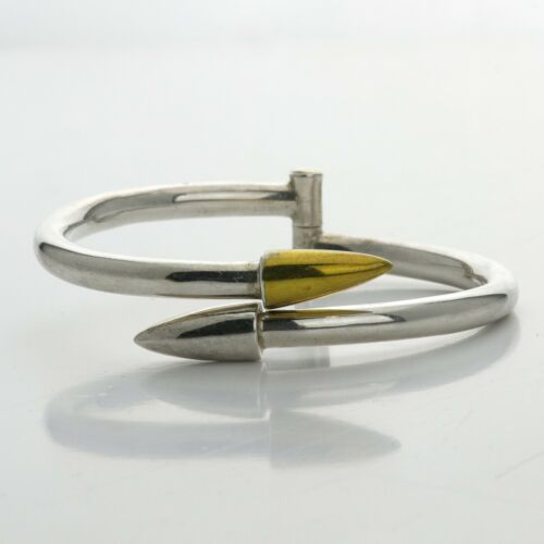 Vintage Taxco TD-70 Mexican Two Tone Sterling Cone Hinge Cuff Bracelet