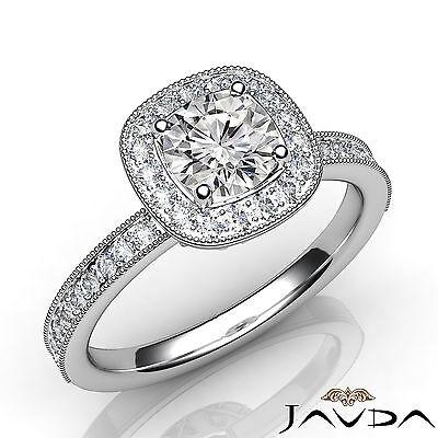 Milgrain Edge Halo Pave Bezel Set Round Diamond Engagement GIA F VS1 Ring 1.22Ct