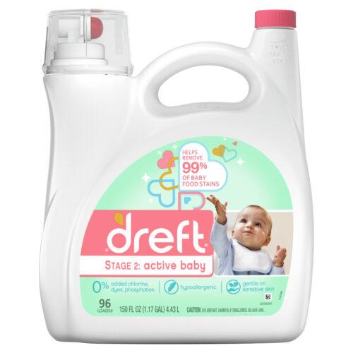 Dreft Stage 2: Active Baby, 96 Loads Liquid Laundry Detergent, 150 Fl Oz
