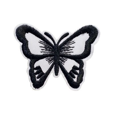 Black white Butterfly (Iron on) Embroidery Applique Patch Sew Iron Badge