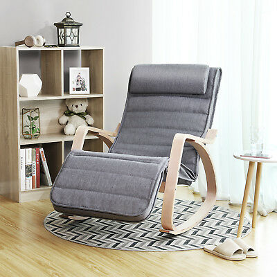 Möbel Schaukelstuhl (Schaukelstuhl Schwingsessel Relaxstuhl Schwingstuhl verstellbares Fußteil LYY11G)