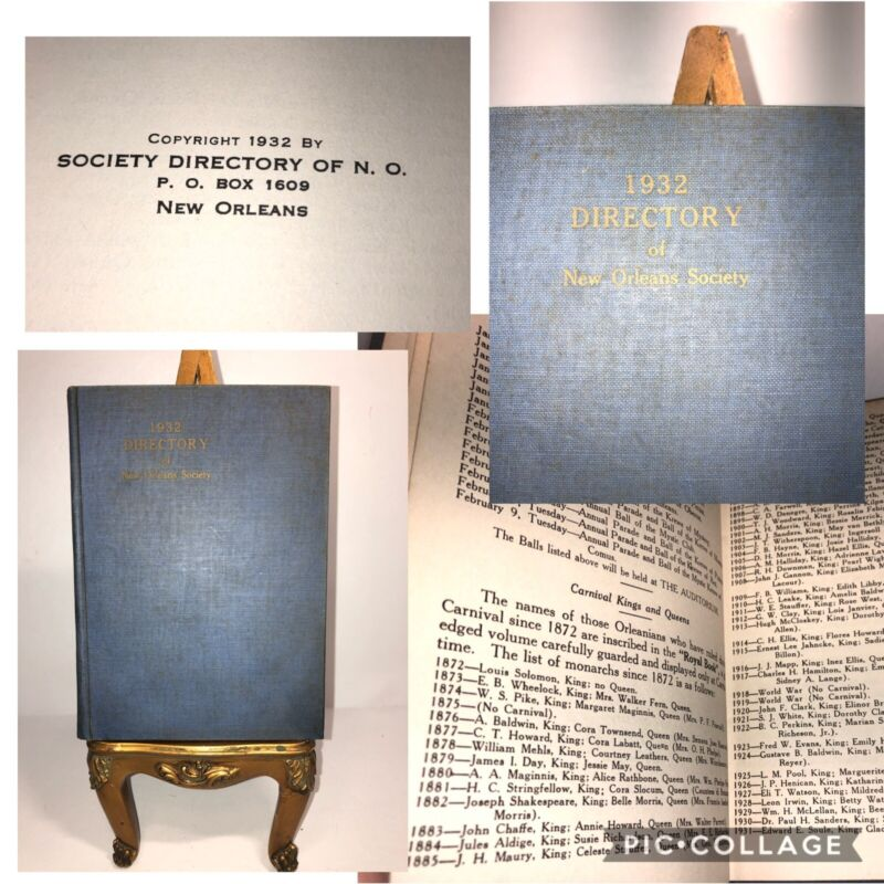 1932 Directory of New Orleans Society Register Louisiana Carnival Geneology HC