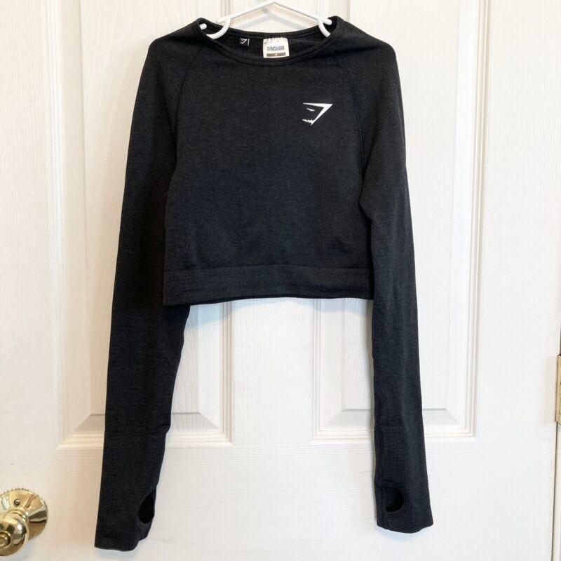 Gymshark Women's Vital Seamless Long Sleeve Crop Top Black Marl Size Small