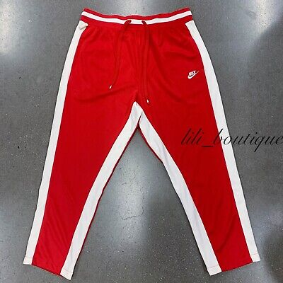 NWT Nike AR1831-657 Men Air NSW Track Pants Loose Fit Straight Red White Size XL