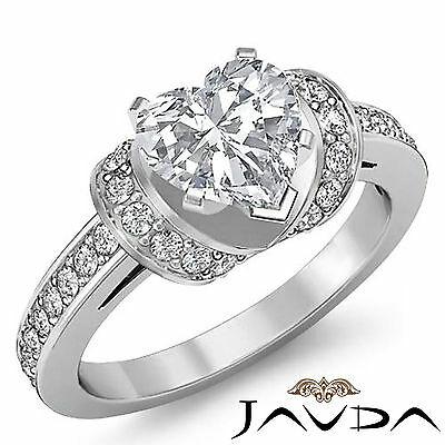 Heart Shape Pave Setting Natural Diamond Engagement Wedding Ring GIA G SI1 1.5Ct