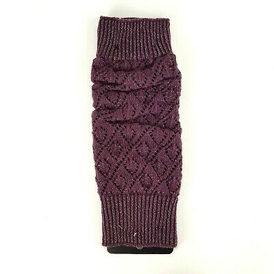 Winter Warm Knit High Knee Leg Warmers Crochet Boot Sock Slouch Shimmery Purple