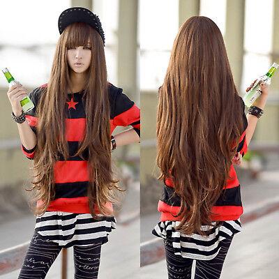 New Women Girl 80cm Long Curly Anime Cosplay Wavy Hair Wig Halloween Light Brown - Long Brown Curly Wig Halloween