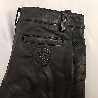 Women's HARLEY DAVIDSON Leather Pants Unhemmed Sz 32W (size 4)