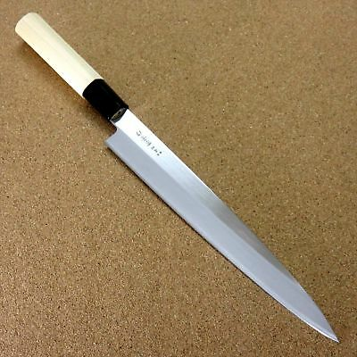 "Japanese Kitchen Sashimi Yanagiba Knife 8.1"" Wooden handle Single edged JAPAN"
