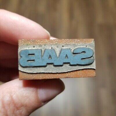 Vintage Letterpress Printing Block Saab Automobiles