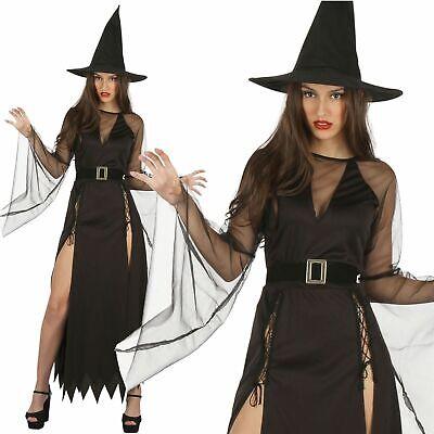 Damen Gothic Klassische Hexe Kostüm Halloween Outfit Kostüm Neu