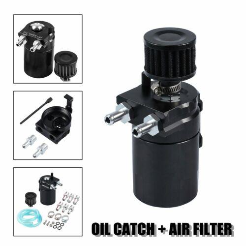 BLACK OIL CATCH TANK RESERVOIR BREATHER CAN W// FILTER CYLINDER ALUMINUM ENGINE