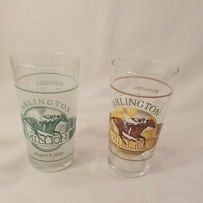 2 Arlington Million Glasses VTG 2008 2009 Winners Listed Chicago Horse Racing