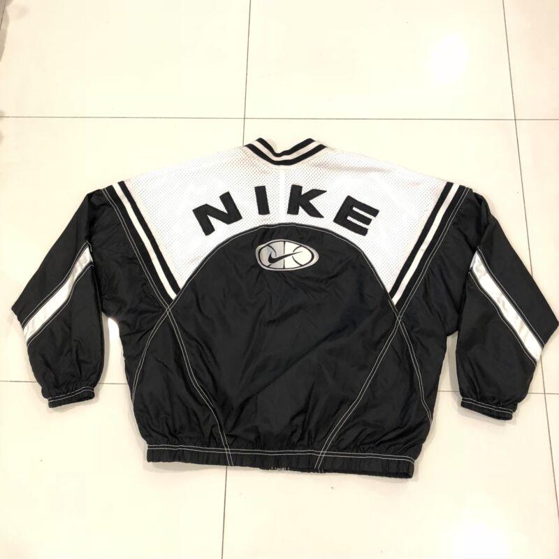 Vintage NIKE Basketball Windbreaker Nylon Full Zip Jacket Youth XL Black White