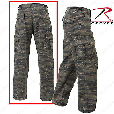 (Tiger Stripe 6 Pocket Fatigue Pants - Rothco Vintage Vietnam Cargo Pant Rip-Stop)
