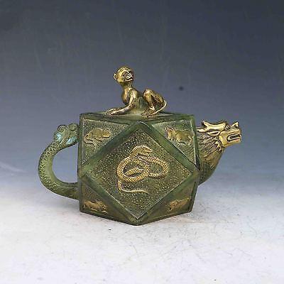 Bronze Gilt Hand Carved Chinese Zodiac teapot& Monkey cover w Qianlong Mark
