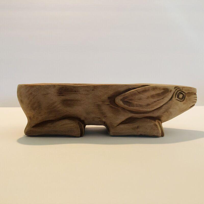 Primitive Carved Wood Rabbit Treen Bowl Spring Decor