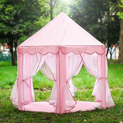 Pink Girls Princess Castle Play House Large Boys Indoor/Outdoor Kids Play Tent - Pink Tent