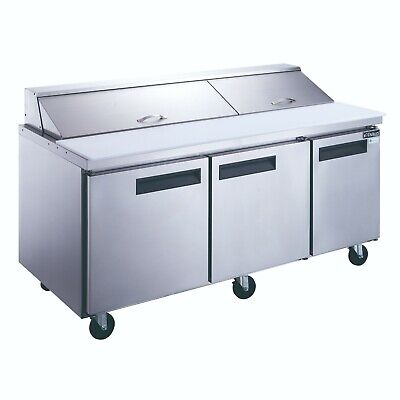New Dukers Dsp72-20-s3 3-door Commercial Food Prep Table Refrigerator