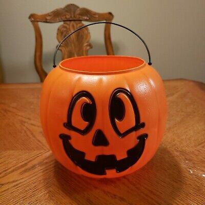 Vintage General Foam Plastics Orange Halloween Pumpkin Trick-or-Treat Candy Pail