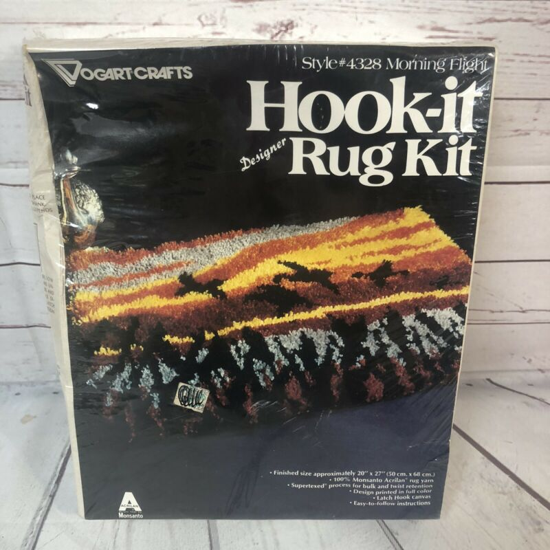 "Vintage NOS Morning Flight Hook-it Rug Kit 20""x27"" Birds Sunrise"