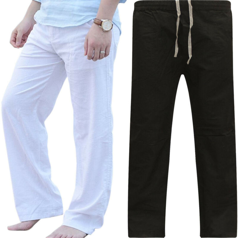 Plus Size Mens Casual Linen Baggy Yoga Pants Loose Straight
